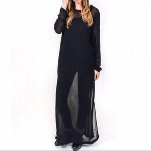LACAUSA LONG SLEEVE SHEER BLACK DRESS - NWT!